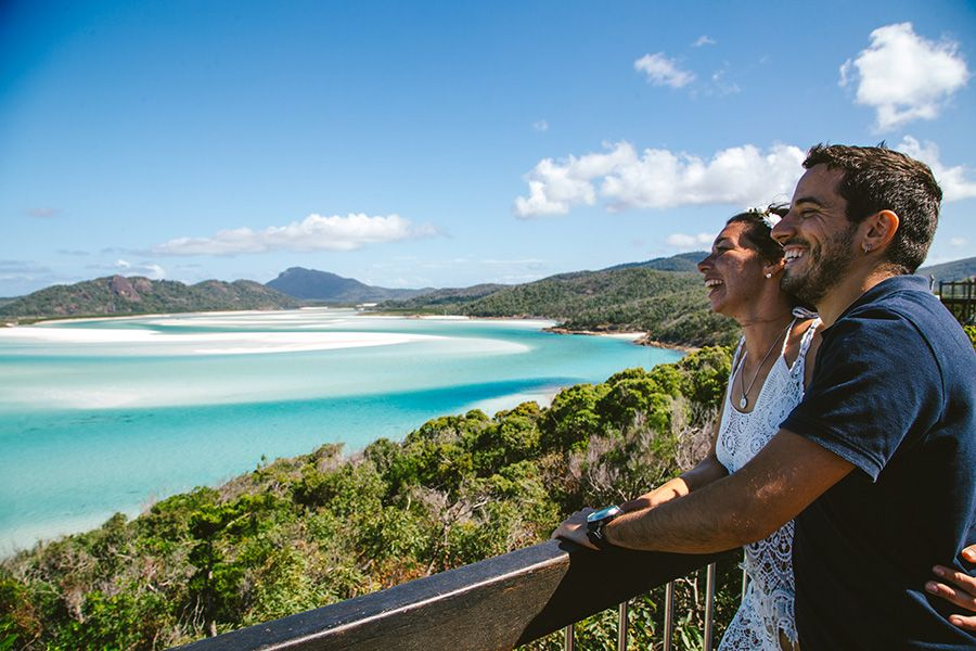 Couple at Whitehaven Lookout, Whitsunday Islands, Australia