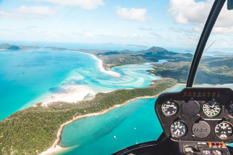 Helicopter Whitehaven Beach Whitsundays