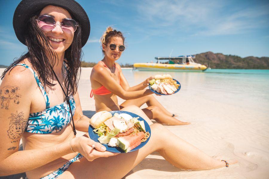 Ocean Rafting Whitehaven Beach Whitsundays Girls Lunch