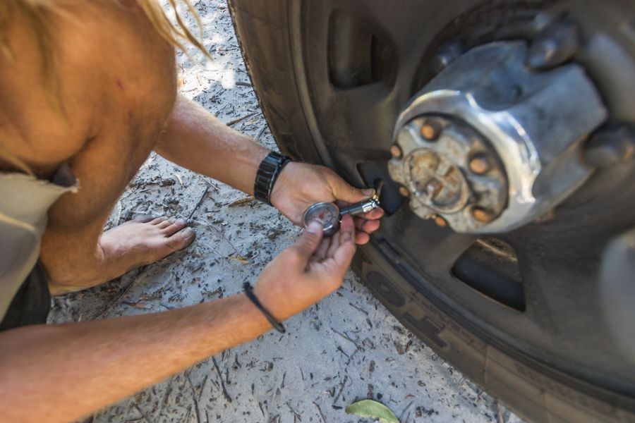 Lowering Tyre pressure on 4WD on Fraser Island Sand Tracks