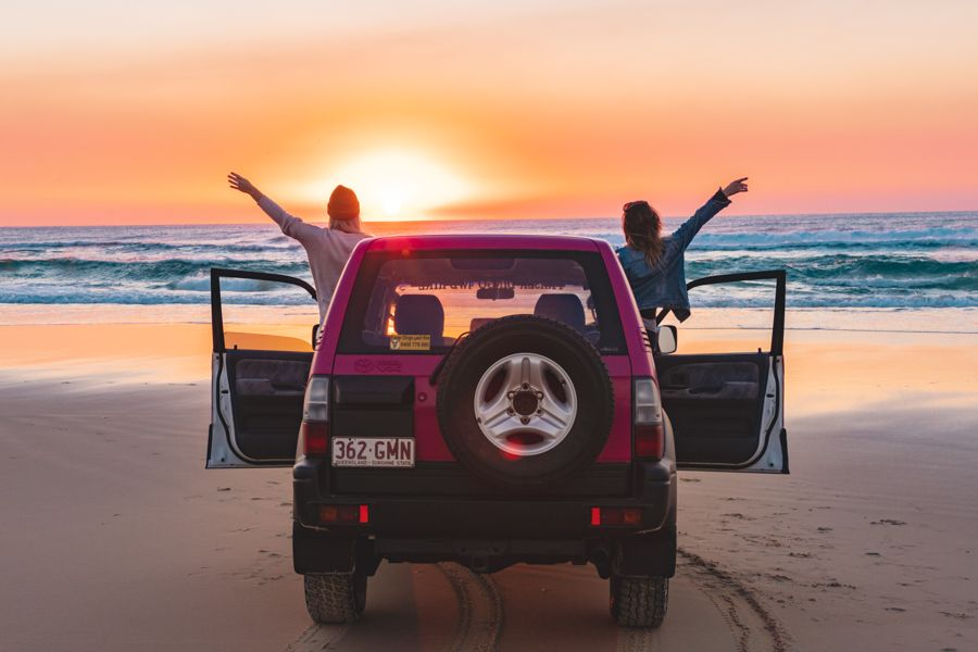 Fraser Dingoes 4WD hire, watching the sunrise at Eurong Beach, Fraser Island