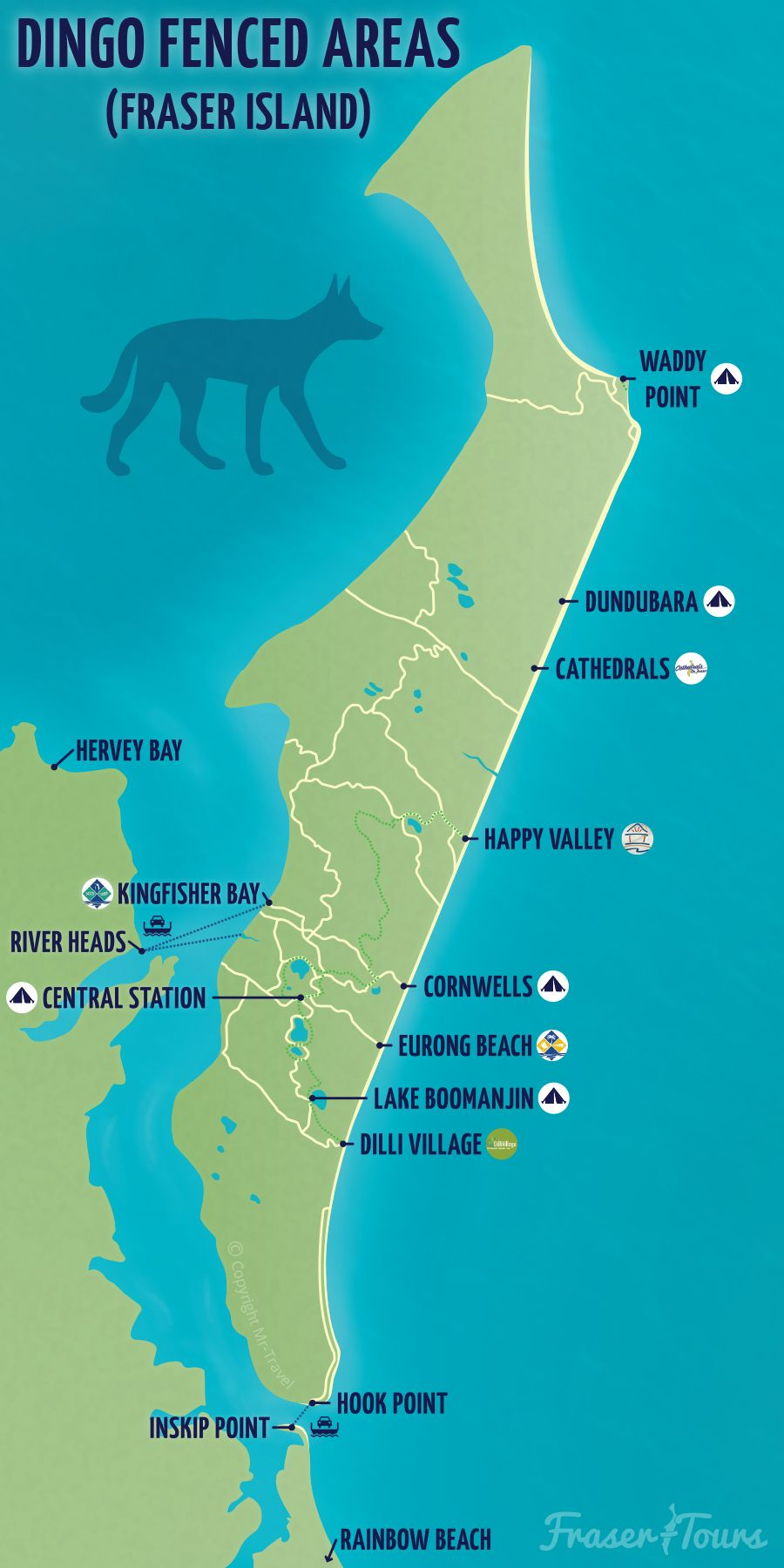 Fraser Tours Map of Dingo Fenced Areas on Fraser Island