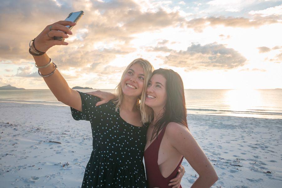 Selfies on Whitehaven Beach