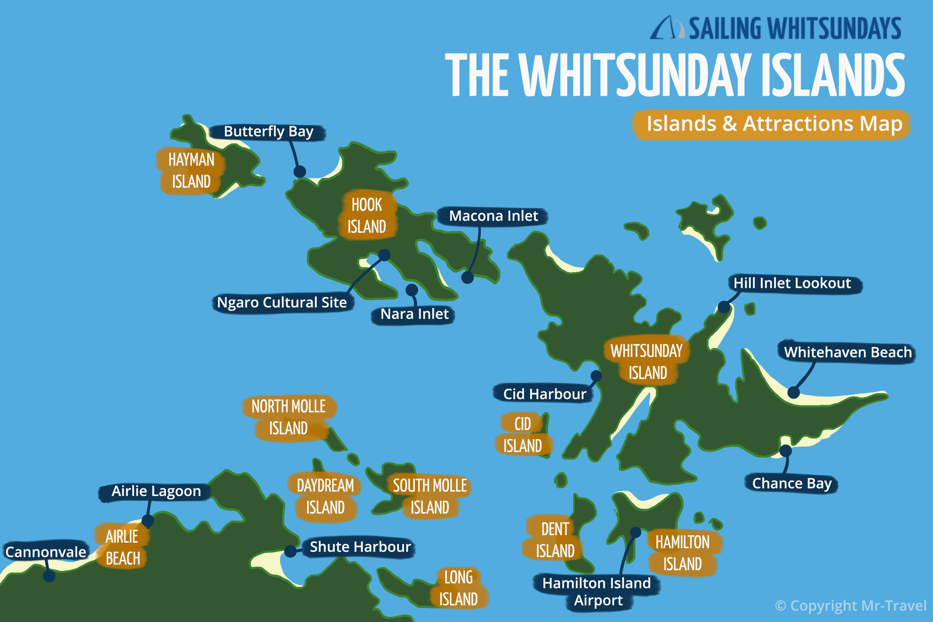 The Whitsunday Islands Map with attractions by Sailing Whitsundays 74 Islands