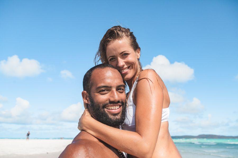 couple on Whitehaven Beach
