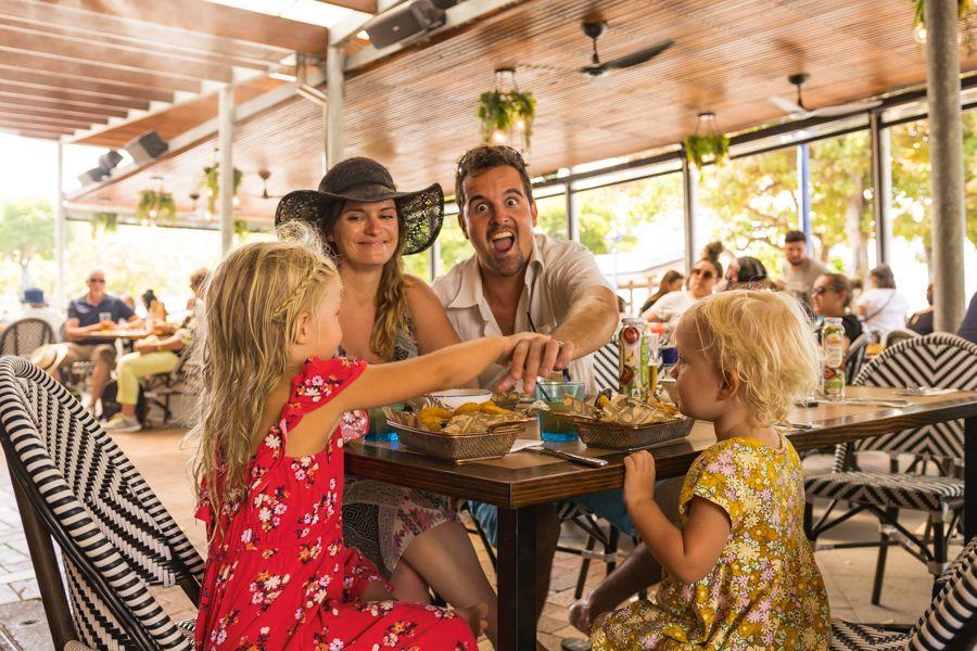 family at bar