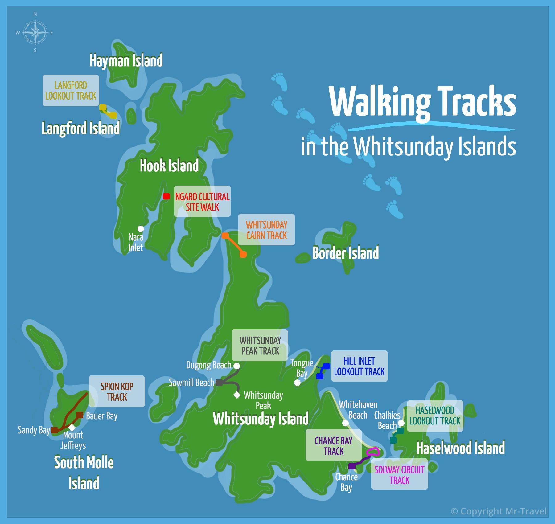 Whitsunday Islands Walking Track Map, Hook Island, Langford Island, Haselwood Island, South Molle Island 2021