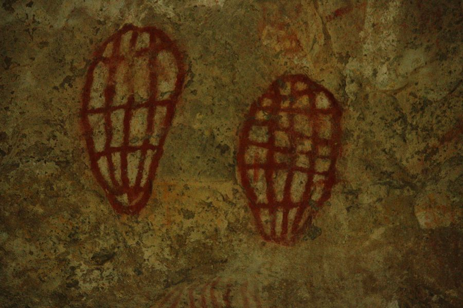 Ancient Ngaro cave painting at Ngaro Cultural Site from boardwalk track, Hook Island