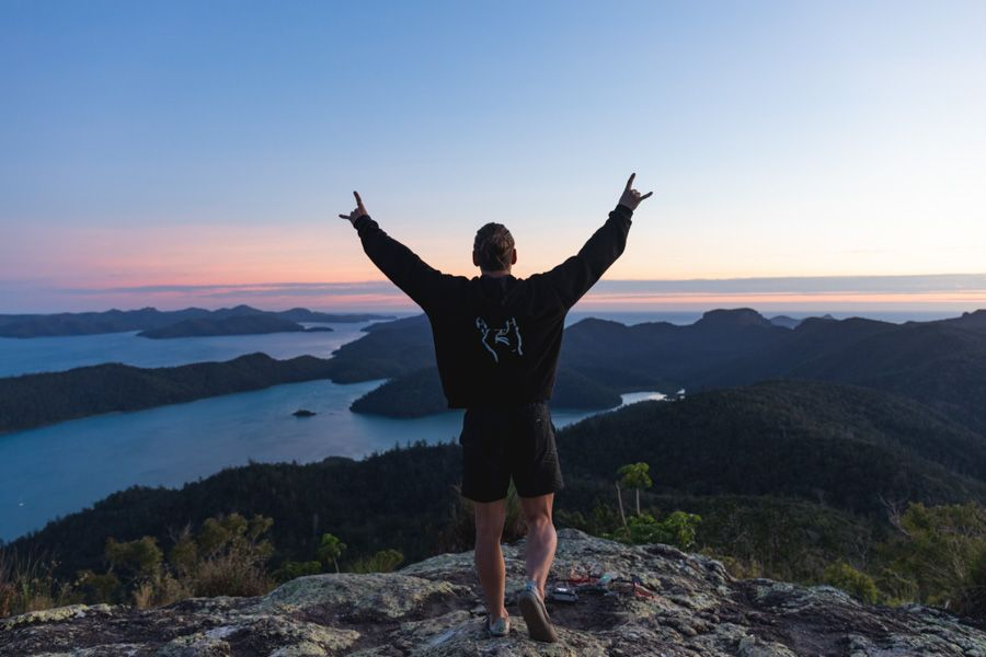 The stunning views from Whitsunday Peak Track's natural Lookout from Sawmill Beach