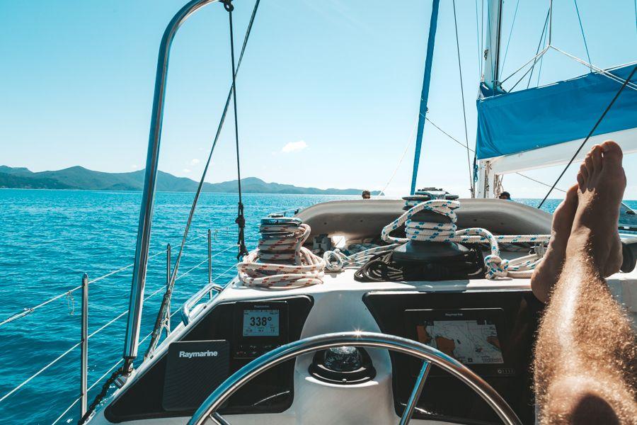 Relaxing on Adventurer Boat Deck, Whitsundays