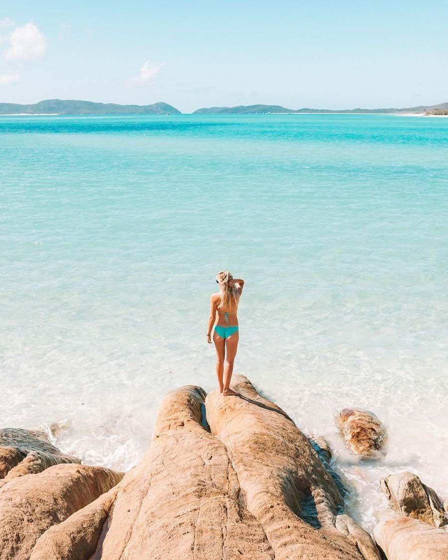 Betty's Bay Whitehaven Beach Whitsunday Island, girl looks at water, Instagram