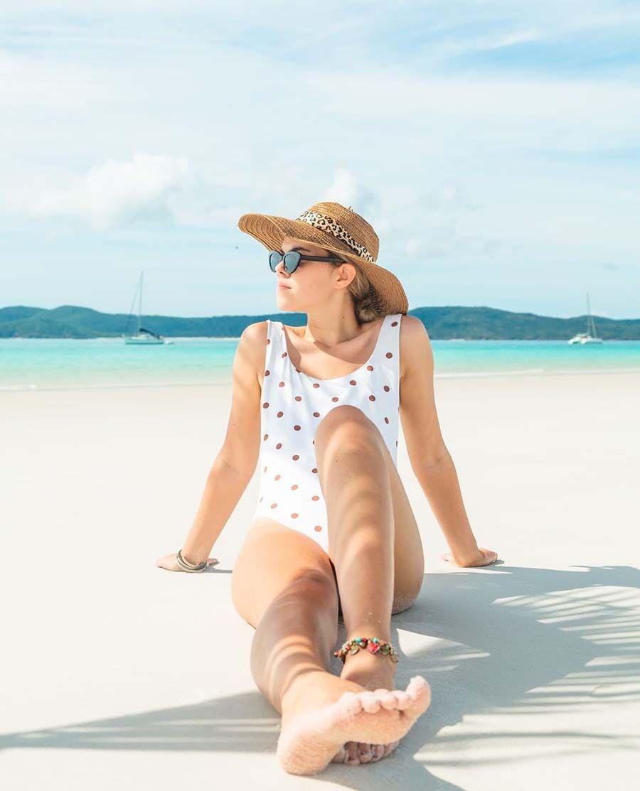 Whitehaven Beach Sunbaking, Woman Instagram, Whitsunday Island
