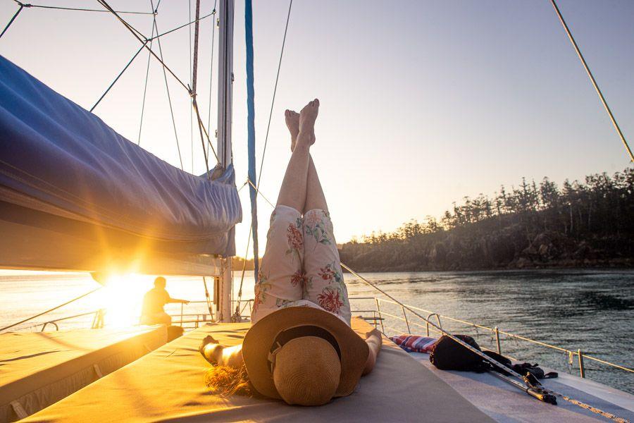 Sailing into the sunset, Whitsunday Islands