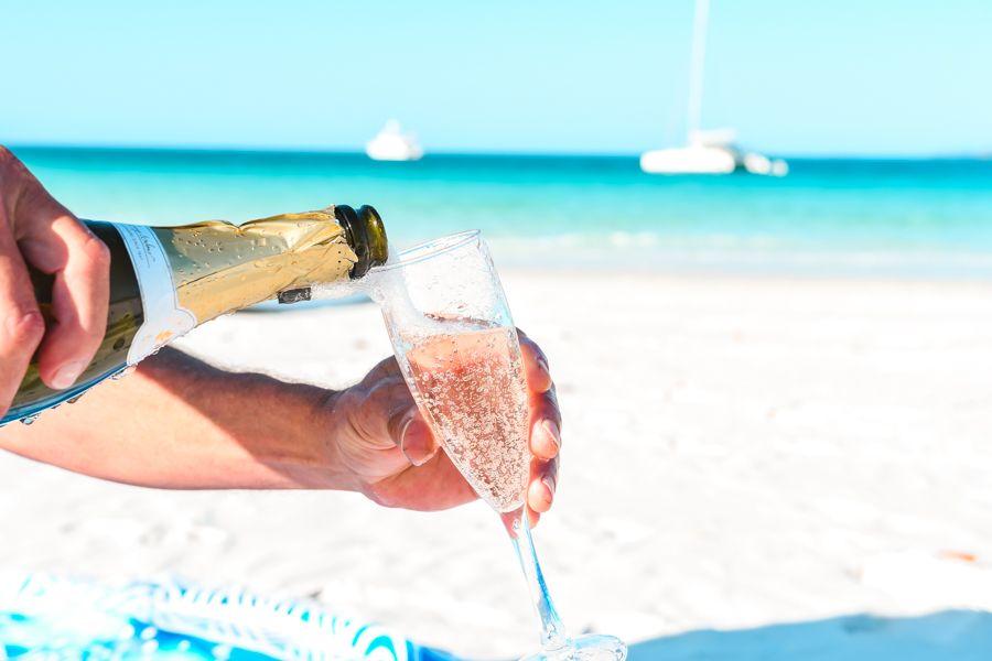 Champagne BYO alcohol sailing catamaran packing list
