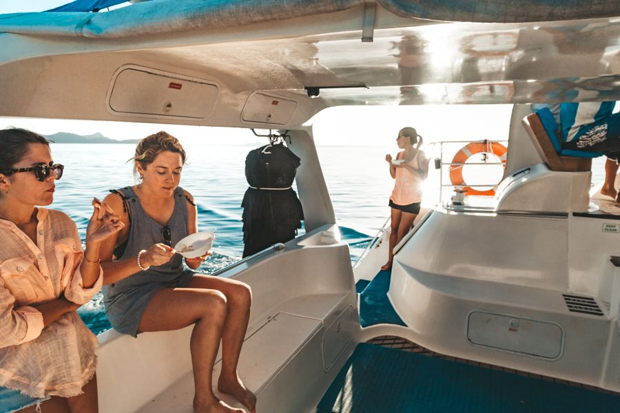 breakfast time on a boat, sailing the whitsundays