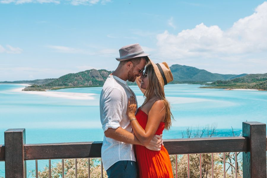 Hill Inlet Lookout Couple Whitsunday Islands