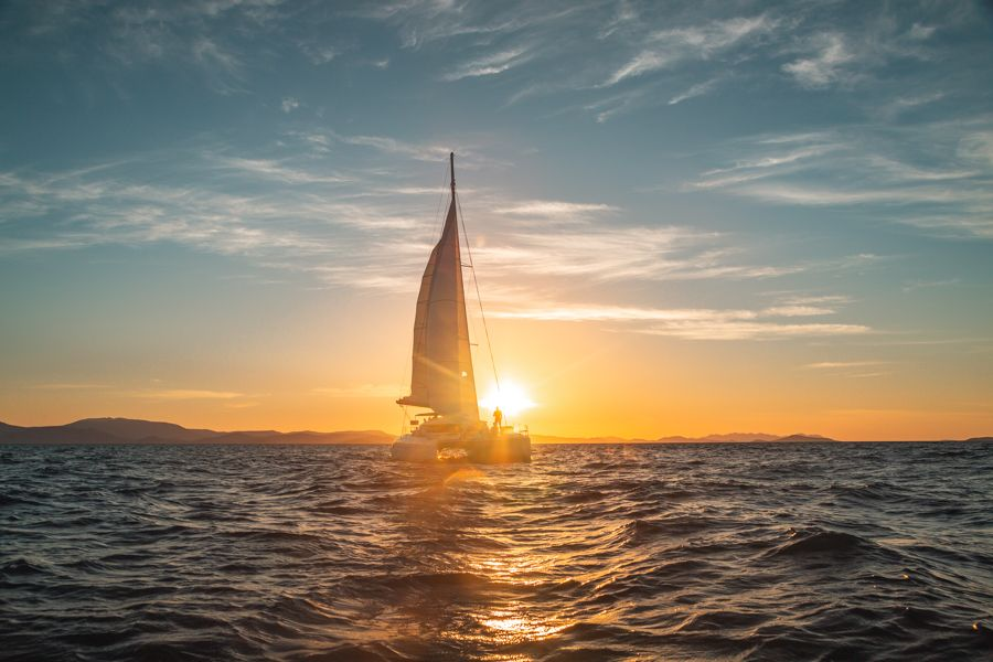On Ice Whitsunday Sailing through the sunset