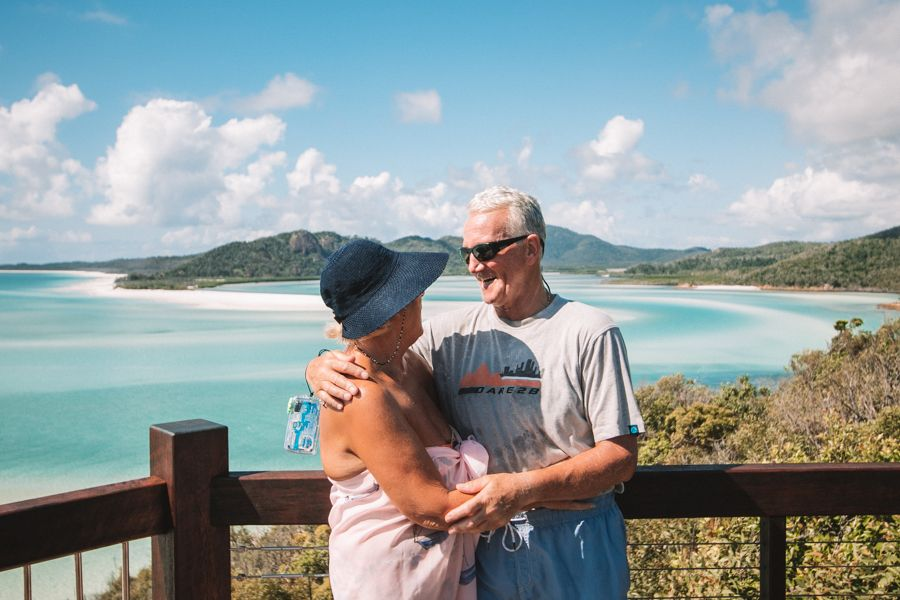 Romantic old couple at Hill Inlet Lookout, Whitsundays, Australia