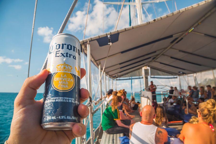 Corona beer can in a boat, Whitsundays, Australia