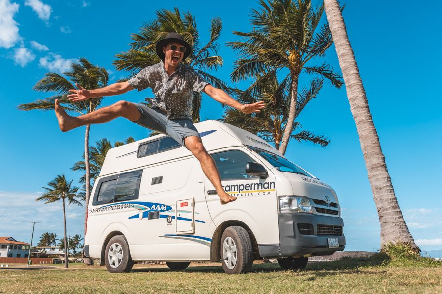Jumping for joy over campervanning in Australia