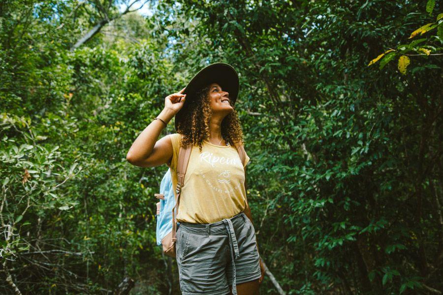 Girl walking in the bush