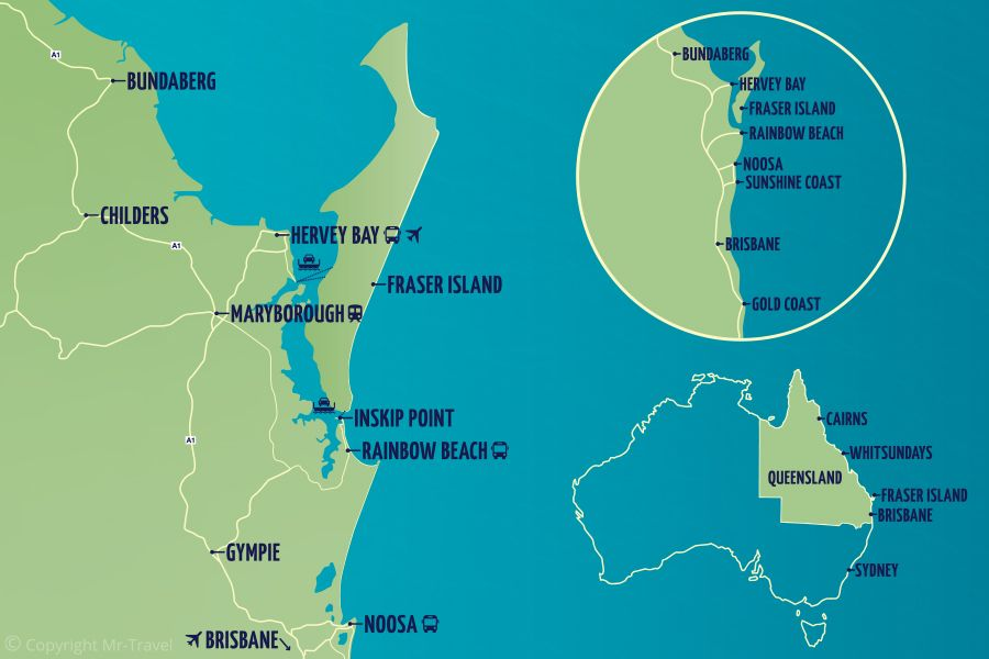 Map of Fraser Coast, Fraser Tours