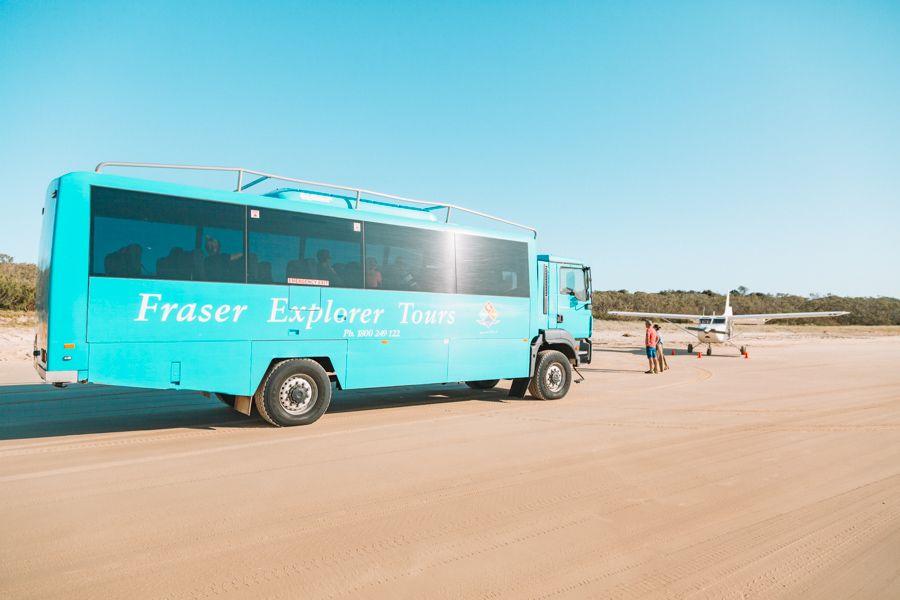 Fraser Explorer Guided Tour Bus on 75 Mile Beach